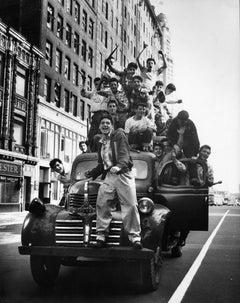 Brooklyn Dodger fans celebrating World Series victory, Flatbush Avenue, Brooklyn