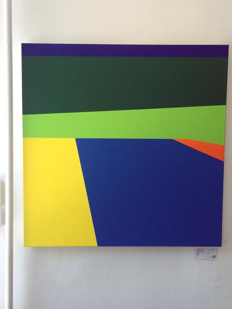 Scene 186- Pool, Blues, Green, Geometric, Pool Scene, Beach house decor - Painting by Martha Hughes