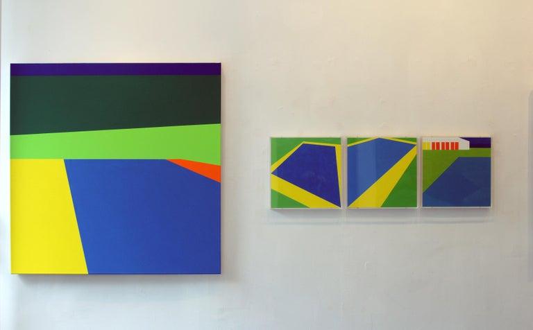 Scene 186- Pool, Blues, Green, Geometric, Pool Scene, Beach house decor - Contemporary Painting by Martha Hughes