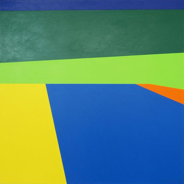 Martha Hughes Abstract Painting - Scene 186- Pool, Blues, Green, Geometric, Pool Scene, Beach house decor