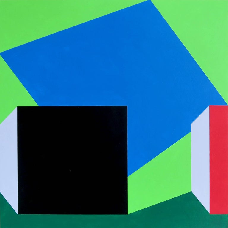Martha Hughes Landscape Painting - Scene 215 Pool and Cabanas, Blue, Green, Black, Geometric, Outdoor Scene, pool