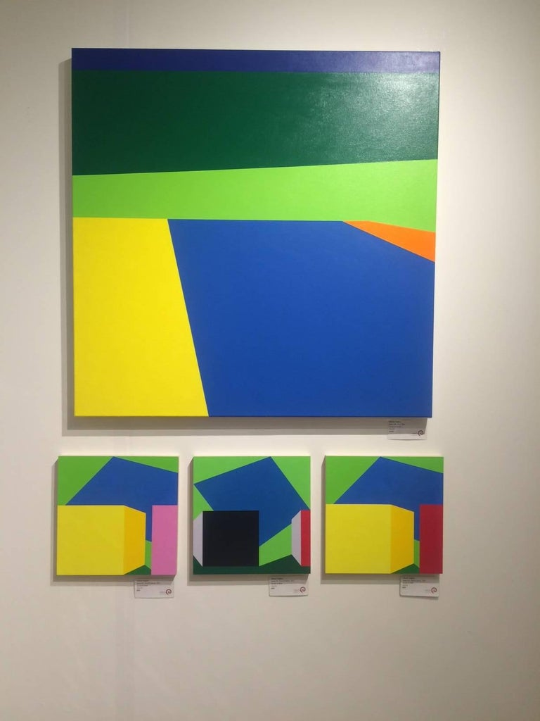 Scene 216 Pool and Cabanas, Geometric, Yellow, Blue, Green, Acrylic, Colorful - Contemporary Painting by Martha Hughes