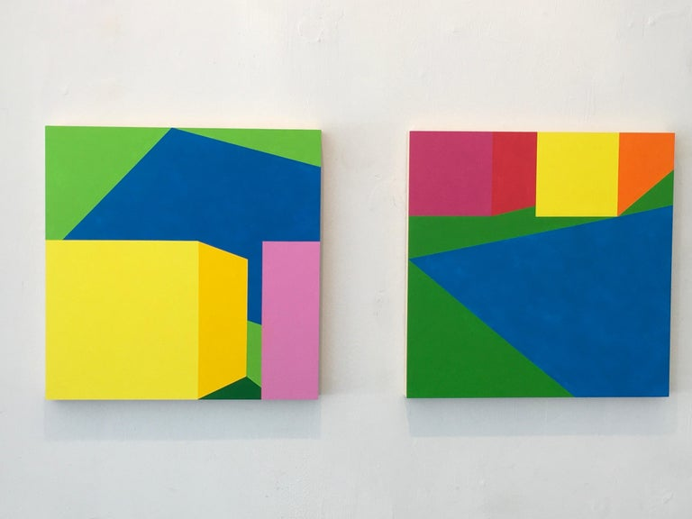 Scene 216 Pool and Cabanas, Geometric, Yellow, Blue, Green, Acrylic, Colorful For Sale 1