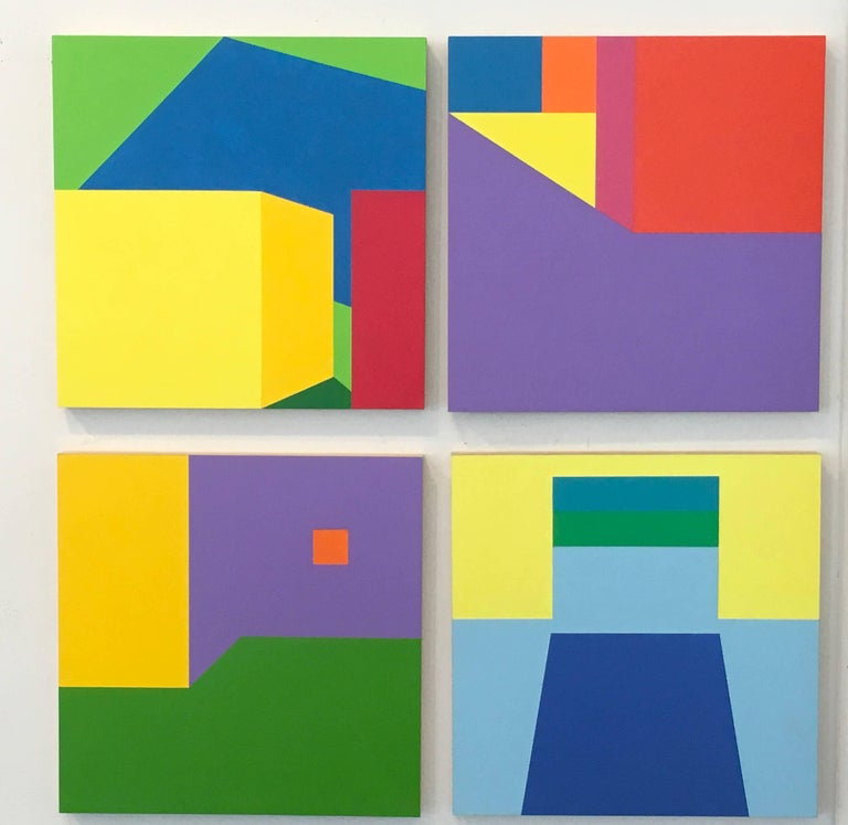 Scene 216 Pool and Cabanas, Geometric, Yellow, Blue, Green, Acrylic, Colorful For Sale 2
