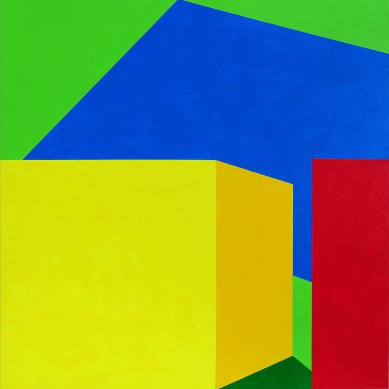Martha Hughes Landscape Painting - Scene 216 Pool and Cabanas, Geometric, Yellow, Blue, Green, Acrylic, Colorful