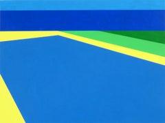 Scene 256 - Pool with Ocean View, Blues, Green, Geometric, Pool Scene, Beach