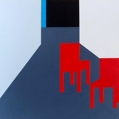 Scene 344, Interior, Red Chairs, Strong Lines, Acrylic, Interior Scene