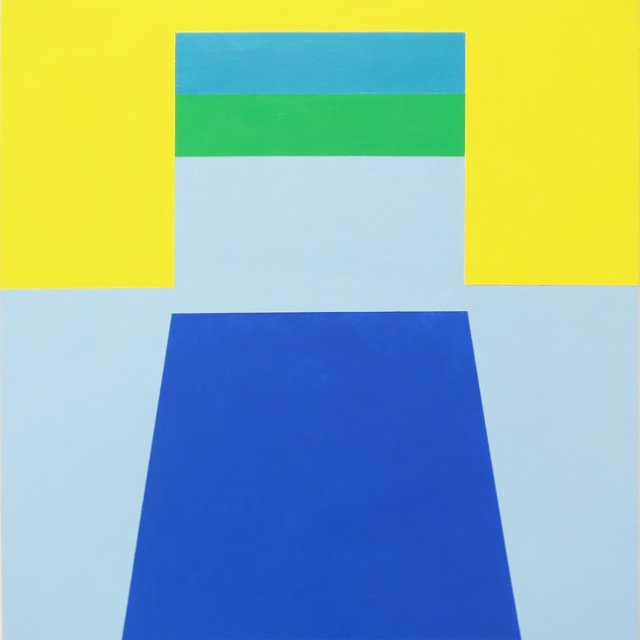 Scene 58, Geometric Interior space, Blue, Yellow, Green, Small Acrylic painting
