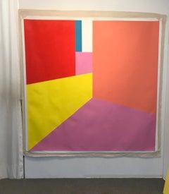 Scene 72, Acrylic Painting, Interior View, 72x72, Pink Yellow Red Orange Blue