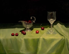 Cherries on a green Cloth original realism still life painting