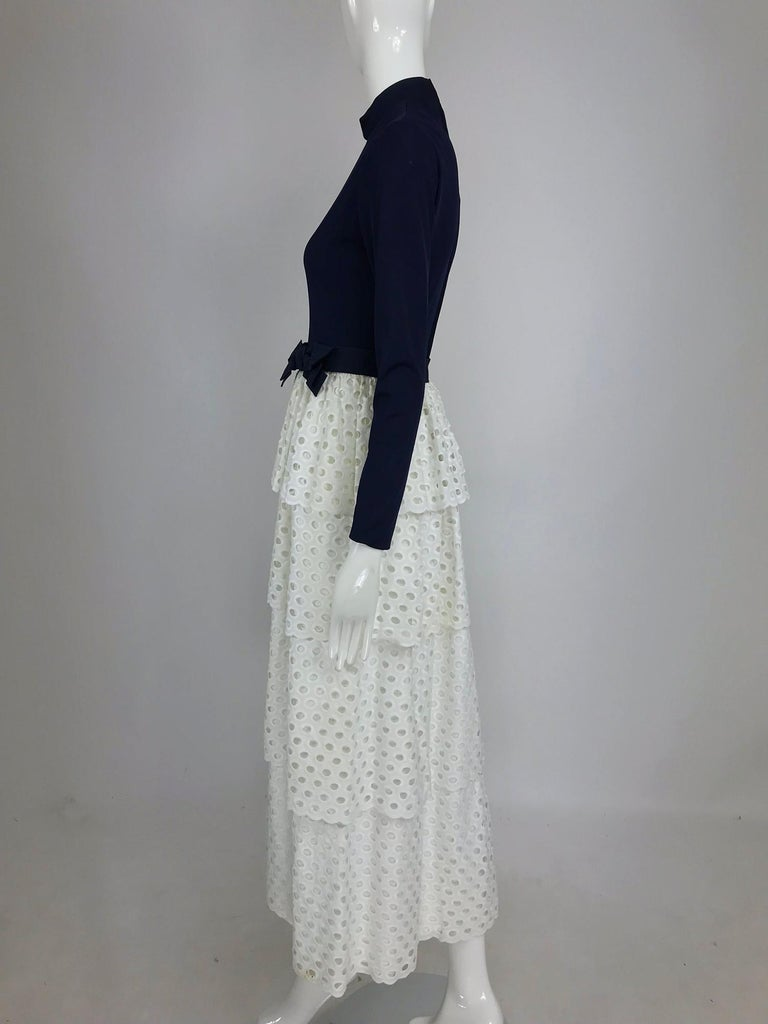 Martha Palm Beach Ink Blue Jersey Tiered White Eyelet Maxi Dress 1970s For Sale 5