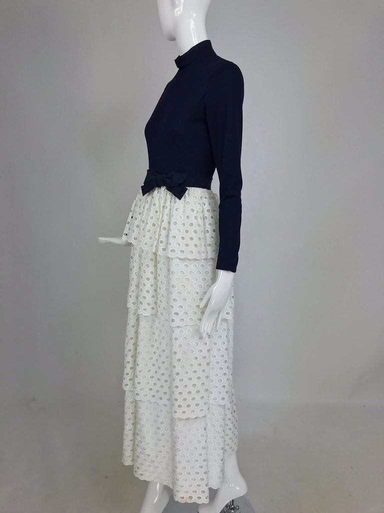 Martha Palm Beach Ink Blue Jersey Tiered White Eyelet Maxi Dress 1970s For Sale 6