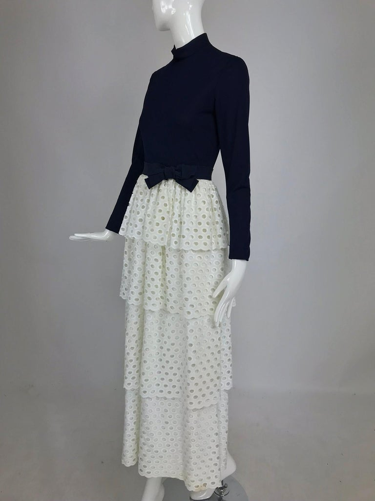 Martha Palm Beach Ink Blue Jersey Tiered White Eyelet Maxi Dress 1970s For Sale 7
