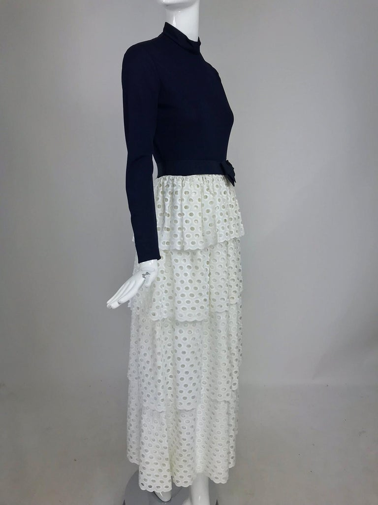 Gray Martha Palm Beach Ink Blue Jersey Tiered White Eyelet Maxi Dress 1970s For Sale