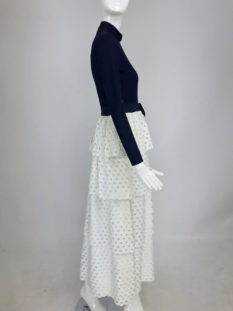 Martha Palm Beach Ink Blue Jersey Tiered White Eyelet Maxi Dress 1970s In Good Condition For Sale In West Palm Beach, FL