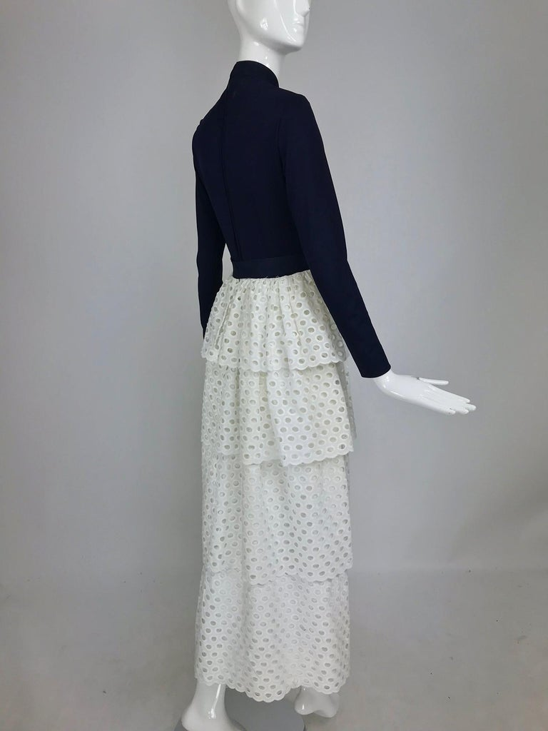 Women's Martha Palm Beach Ink Blue Jersey Tiered White Eyelet Maxi Dress 1970s For Sale