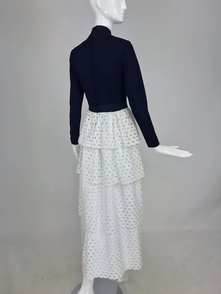 Martha Palm Beach Ink Blue Jersey Tiered White Eyelet Maxi Dress 1970s For Sale 1