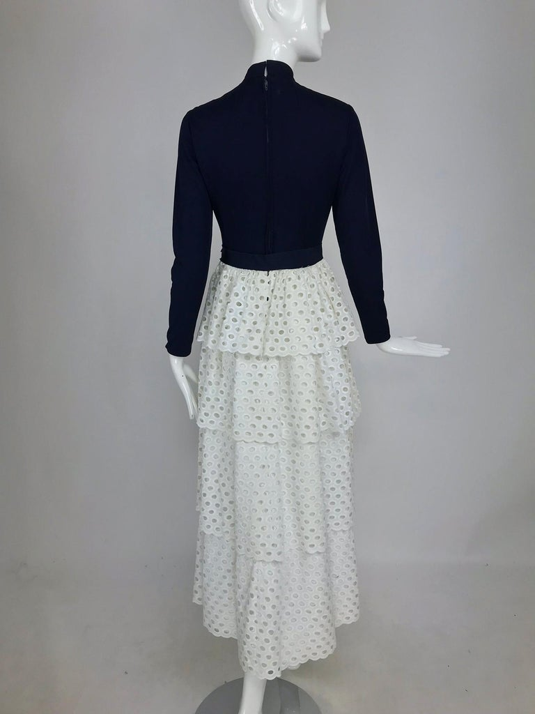 Martha Palm Beach Ink Blue Jersey Tiered White Eyelet Maxi Dress 1970s For Sale 2