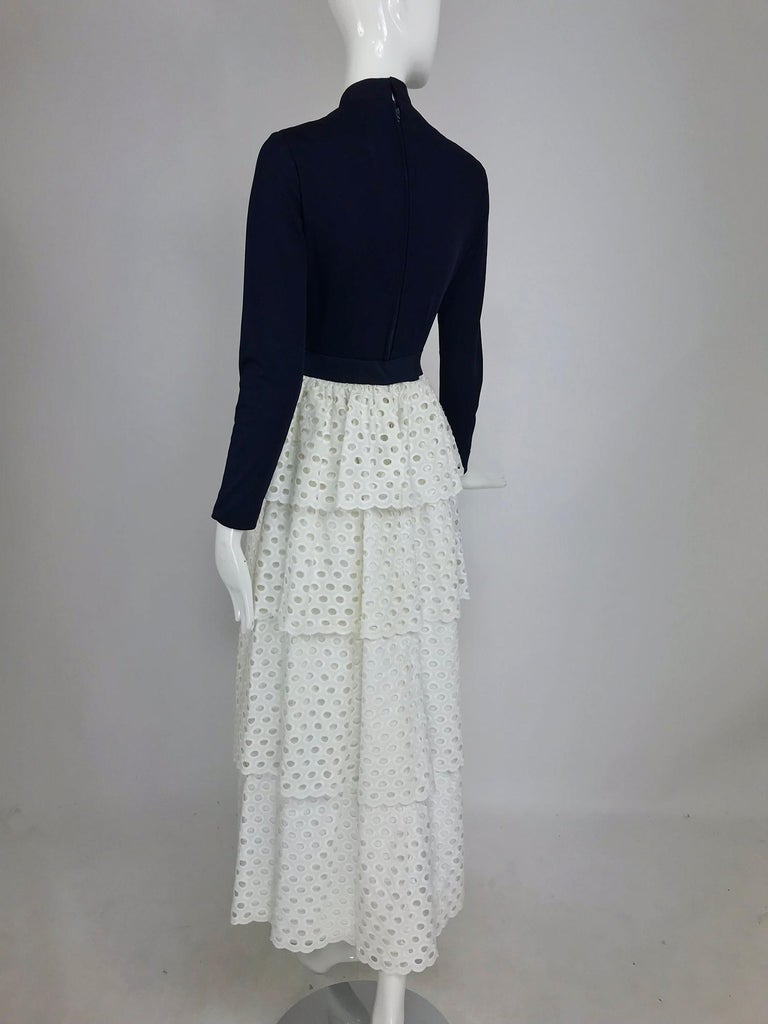 Martha Palm Beach Ink Blue Jersey Tiered White Eyelet Maxi Dress 1970s For Sale 3