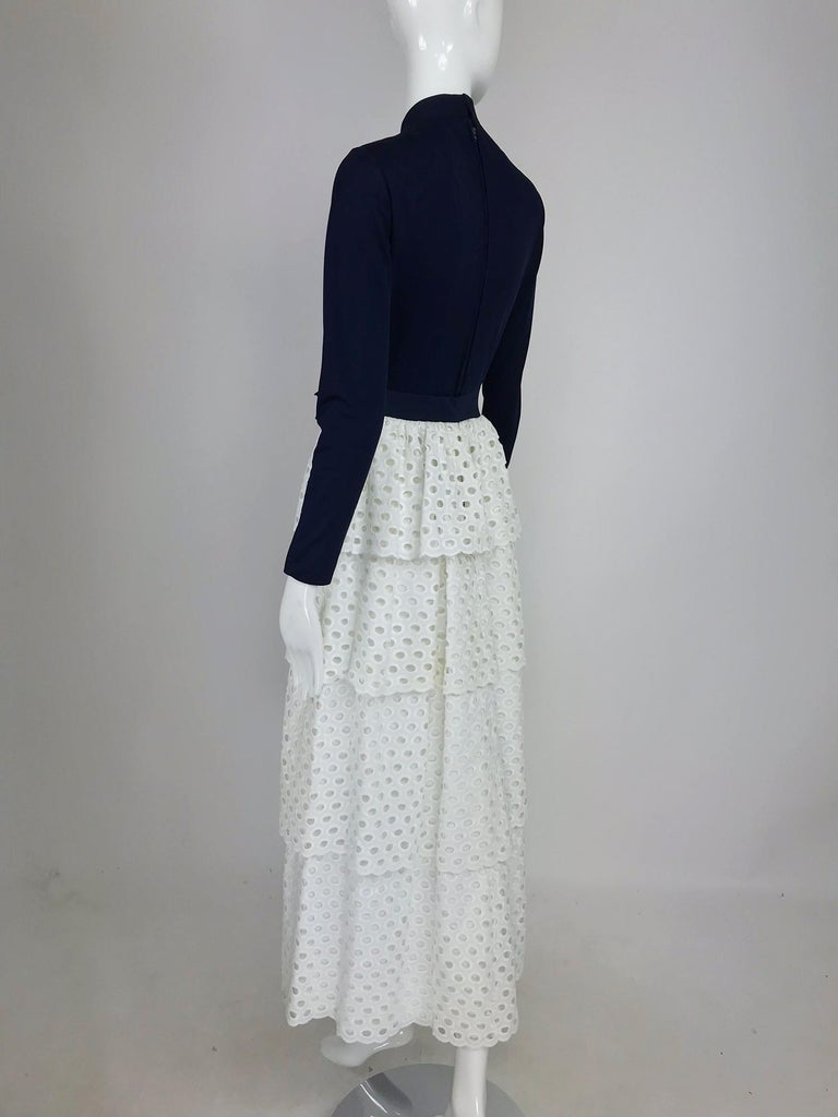 Martha Palm Beach Ink Blue Jersey Tiered White Eyelet Maxi Dress 1970s For Sale 4