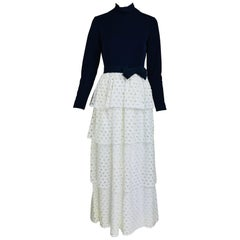 Martha Palm Beach Ink Blue Jersey Tiered White Eyelet Maxi Dress 1970s
