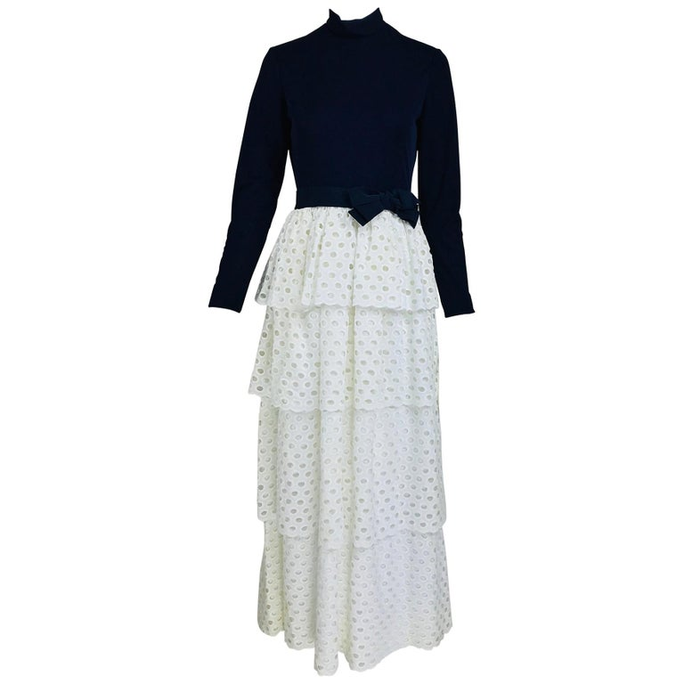 Martha Palm Beach Ink Blue Jersey Tiered White Eyelet Maxi Dress 1970s For Sale