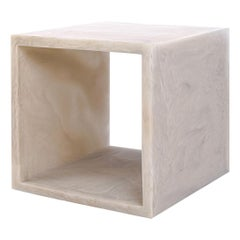 Martha Sturdy Marbled Linen Colored Resin Cube Side Table