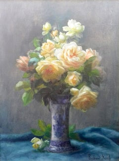 Bouquet Roses Floral Still Life French Art Nouveau period oil painting