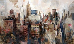 Manhattan Life's - 21st Century, Contemporary, Figurative Painting, Mixed Media