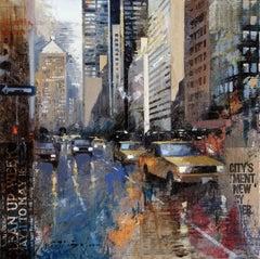 Park Av. - 21st Century, Contemporary, Figurative Painting, Mixed Media