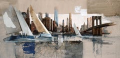 Sailing in Manhattan - 21st Century, Contemporary, Figurative Painting