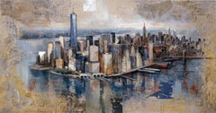 South Manhattan - 21st Century, Contemporary, Figurative Painting, Mixed Media