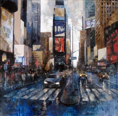 Times Square - 21st Century, Contemporary, Figurative Painting, Mixed Media