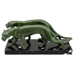 Marti Font French Art Deco Panther Couple Sculpture, 1930s
