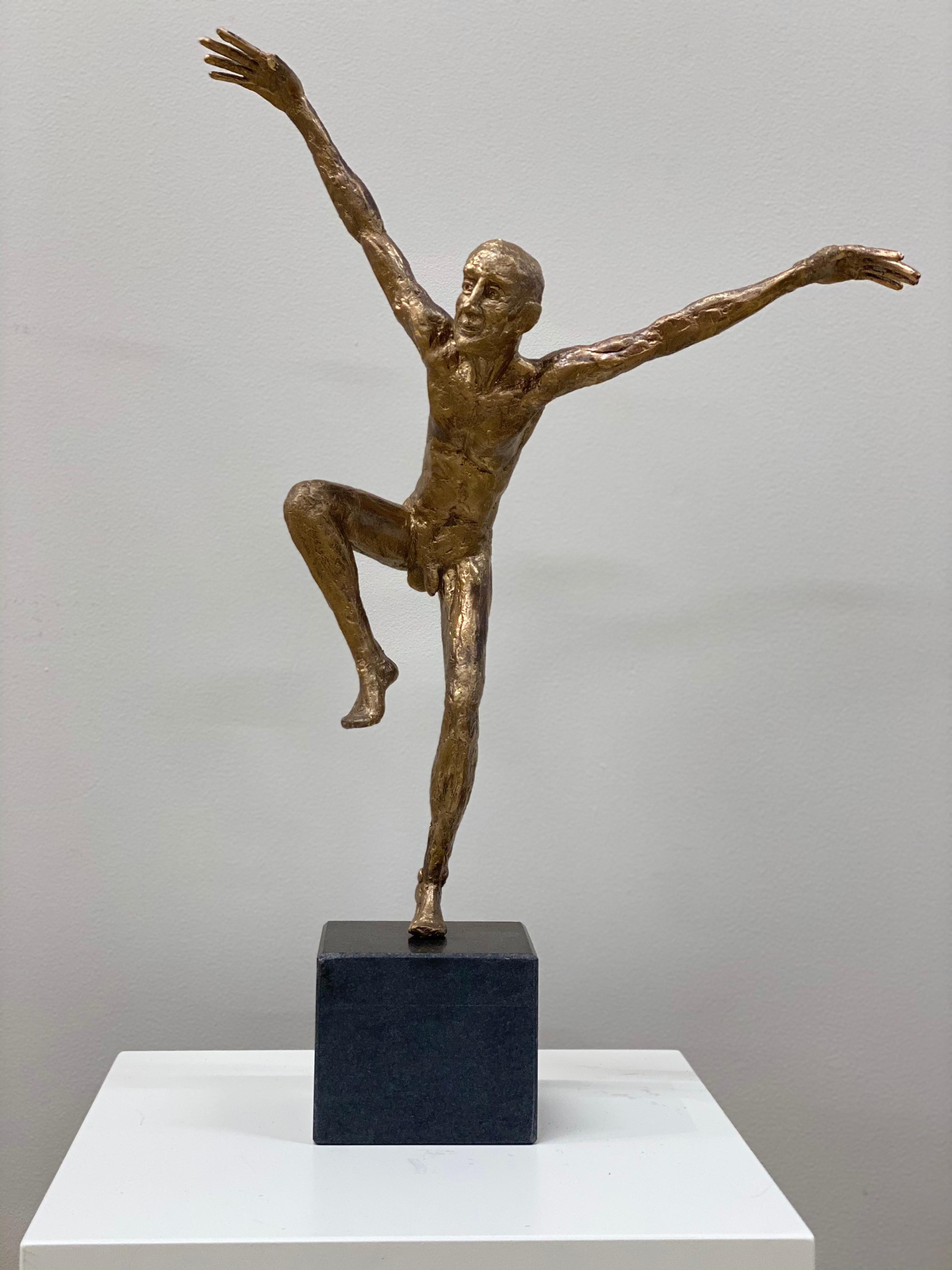 Dancer VI- 21st Century Bronze Sculpture of a Male Nude Dancing