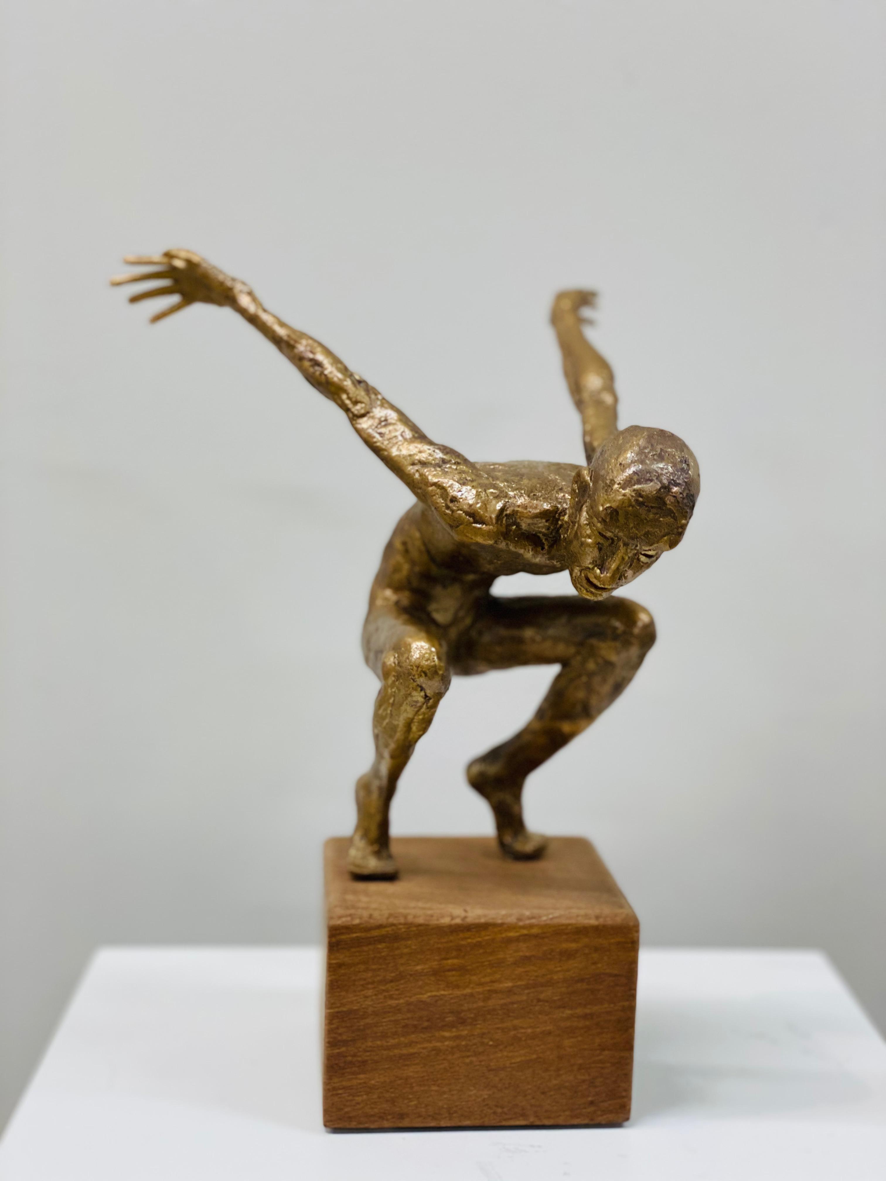 Dancer VII- 21st Century Bronze Sculpture of a Male Nude Dancer