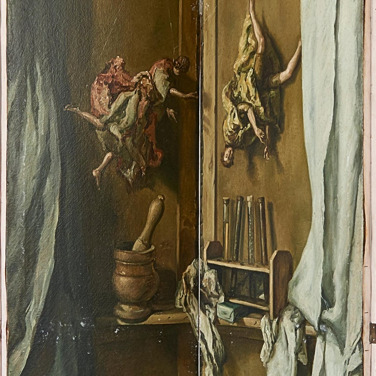 Painted Martin Algaza Eight Fold Trompe L'Oeuil Surrealist Screen, Mid-20th Century For Sale