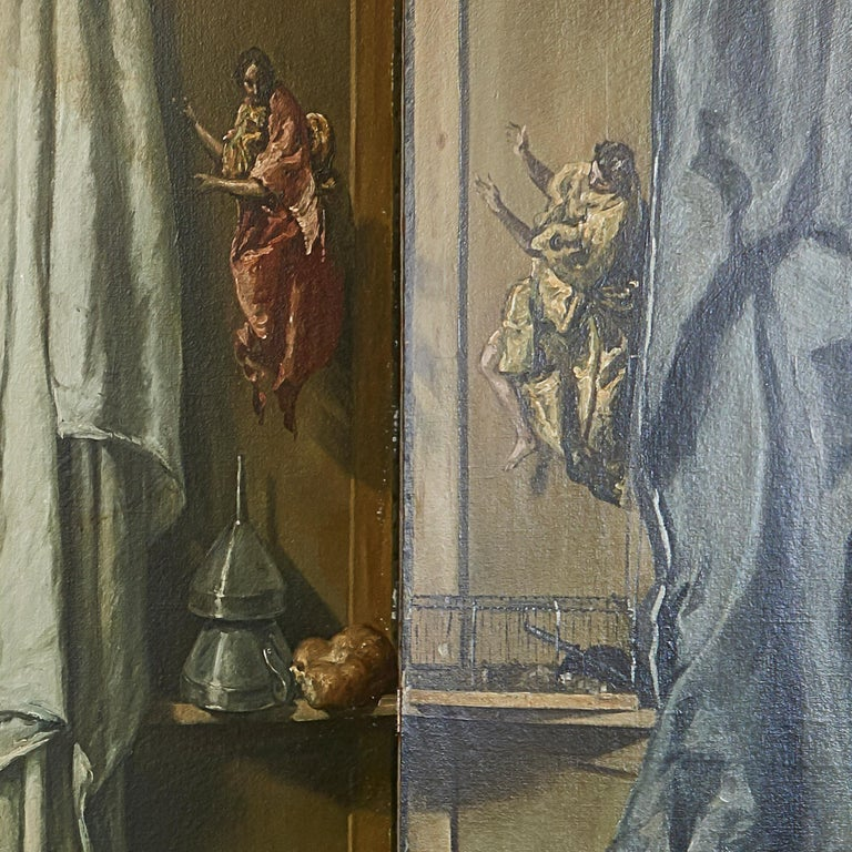 Martin Algaza Eight Fold Trompe L'Oeuil Surrealist Screen, Mid-20th Century In Good Condition For Sale In London, GB