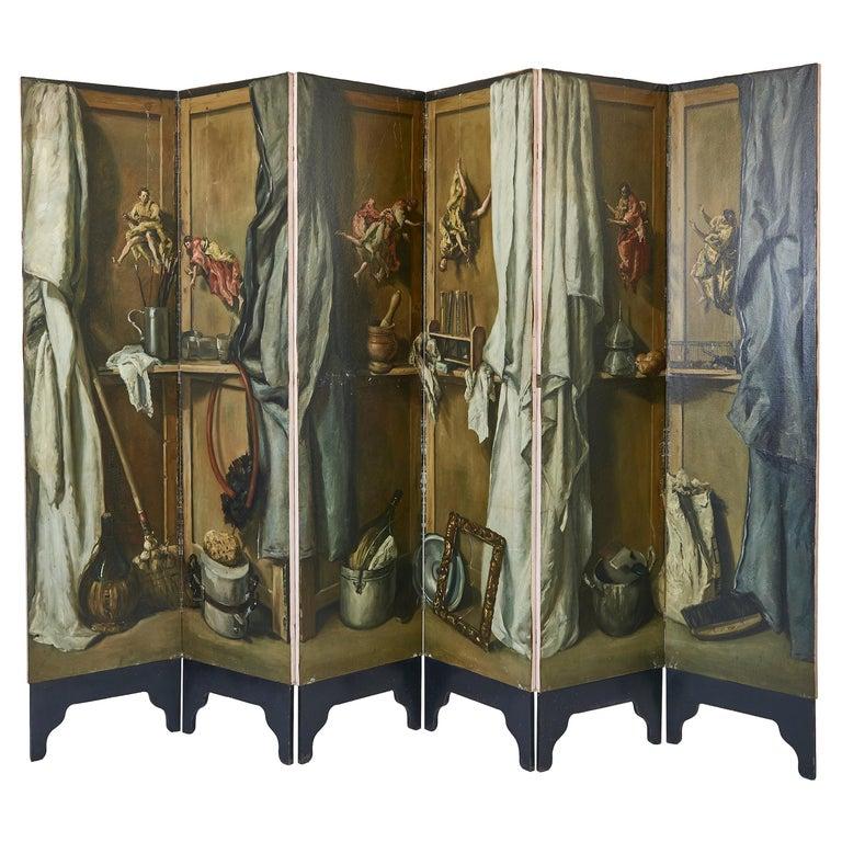 Martin Algaza Eight Fold Trompe L'Oeuil Surrealist Screen, Mid-20th Century For Sale