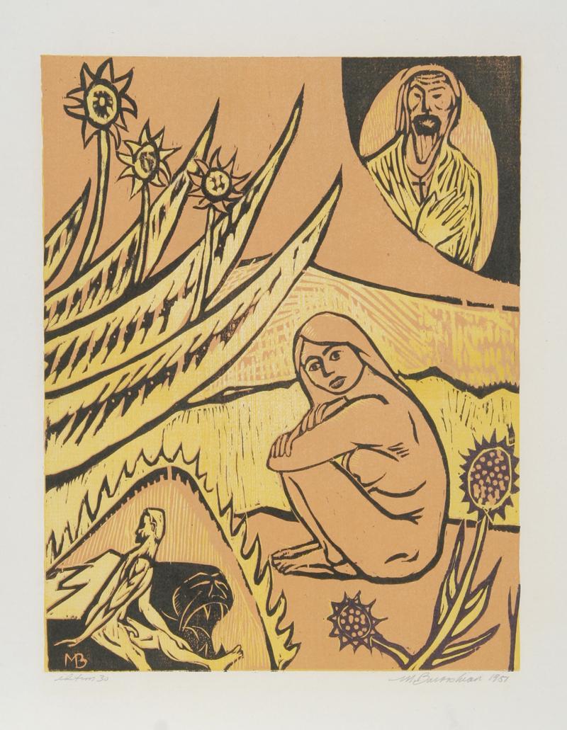 Heaven and Hell, 1951, Woodcut by Martin Barooshian