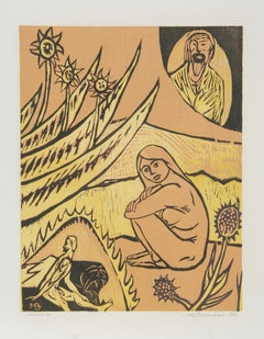 Heaven and Hell, 1951, Woodcut by Martin Barooshian
