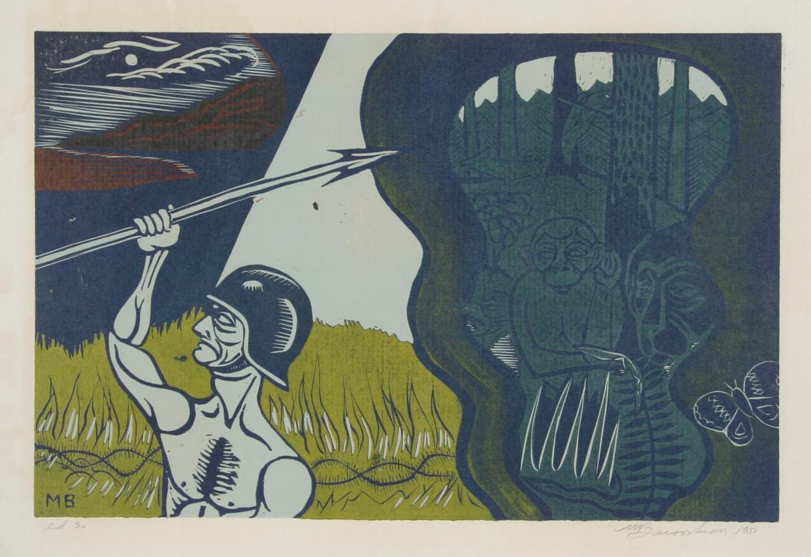 The Entrance to the Peaceful Kingdom, 1951, Woodcut by Martin Barooshian