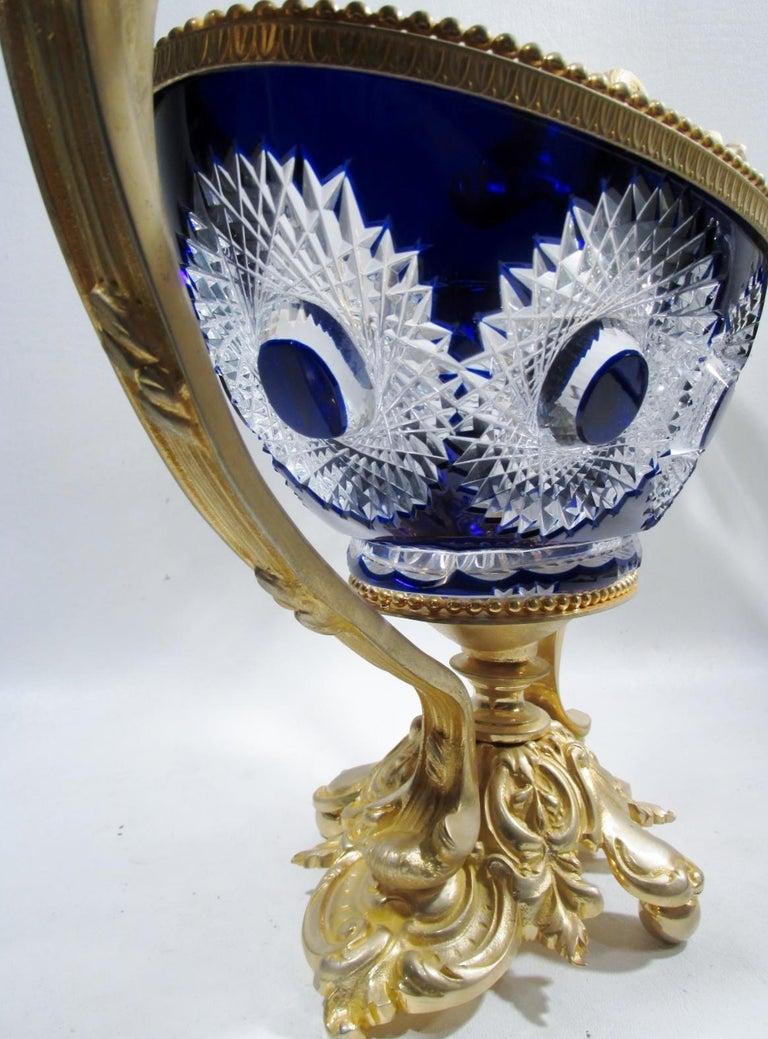 Martin Benito France Centerpiece Cobalt Crystal Dore Bronze Swans For Sale 5