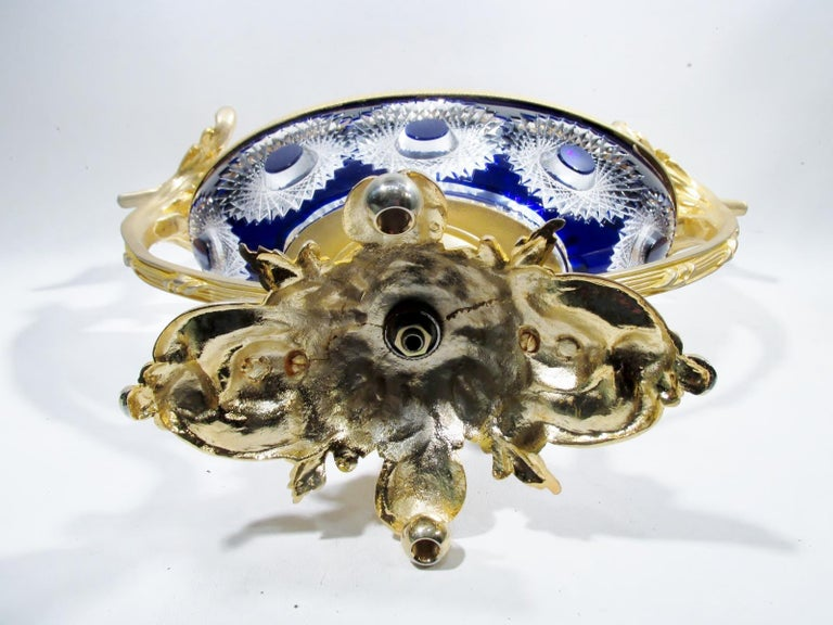 Martin Benito France Centerpiece Cobalt Crystal Dore Bronze Swans For Sale 7