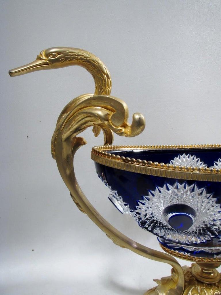 Beaux Arts Martin Benito France Centerpiece Cobalt Crystal Dore Bronze Swans For Sale