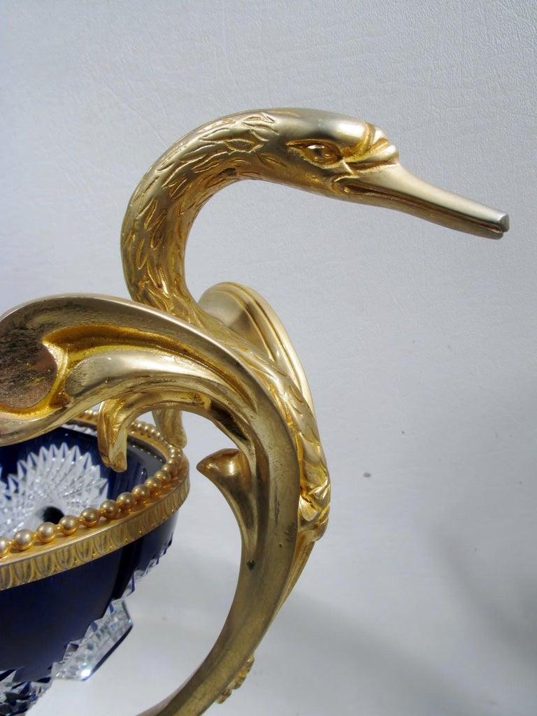 Gilt Martin Benito France Centerpiece Cobalt Crystal Dore Bronze Swans For Sale
