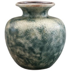 Martin Borthers Martinware Art Pottery Green Glazed Vase Dated 1937