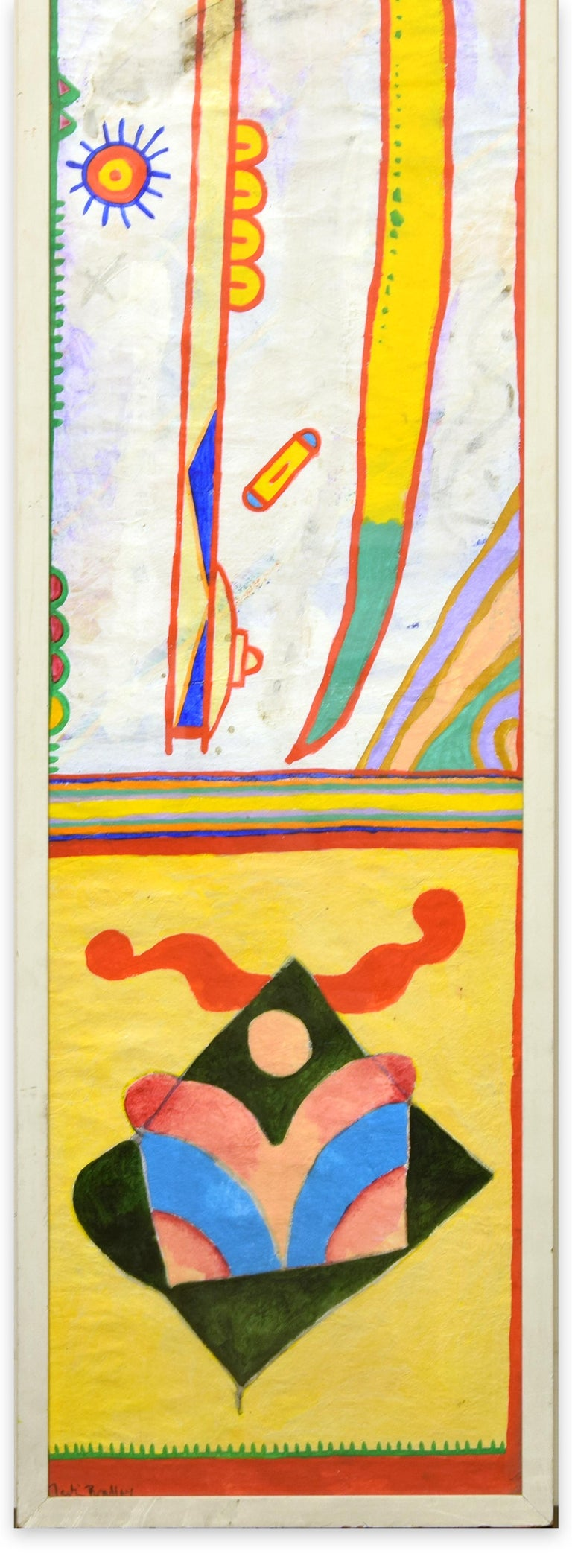 Boomerang - Acrylic Painting on Rice Paper by Martin Bradley - 1978 For Sale 1