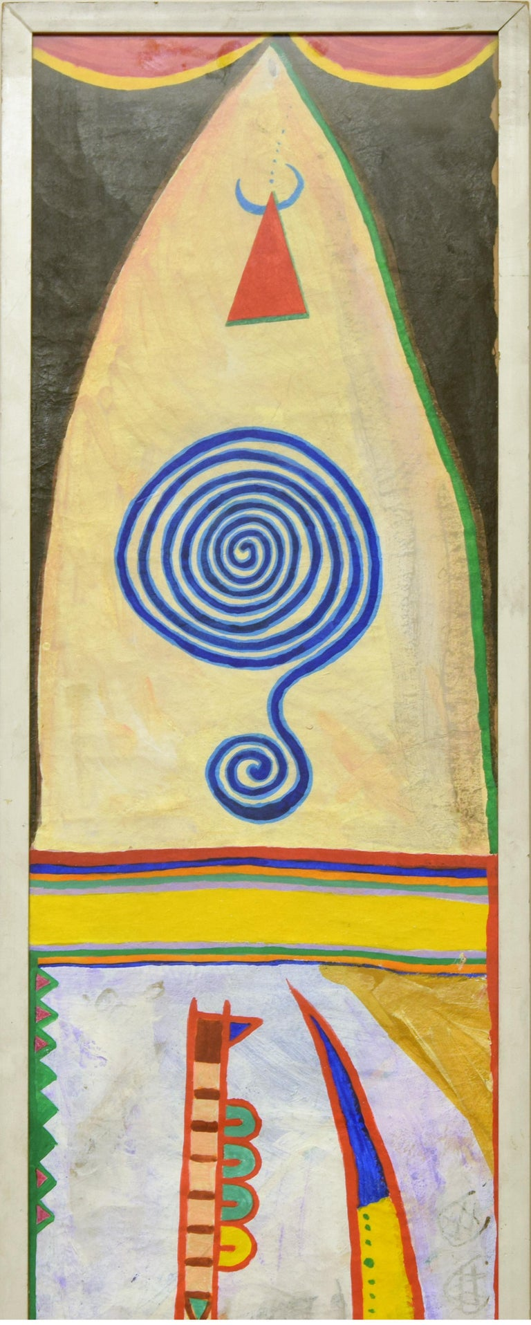 Boomerang - Acrylic Painting on Rice Paper by Martin Bradley - 1978 For Sale 2