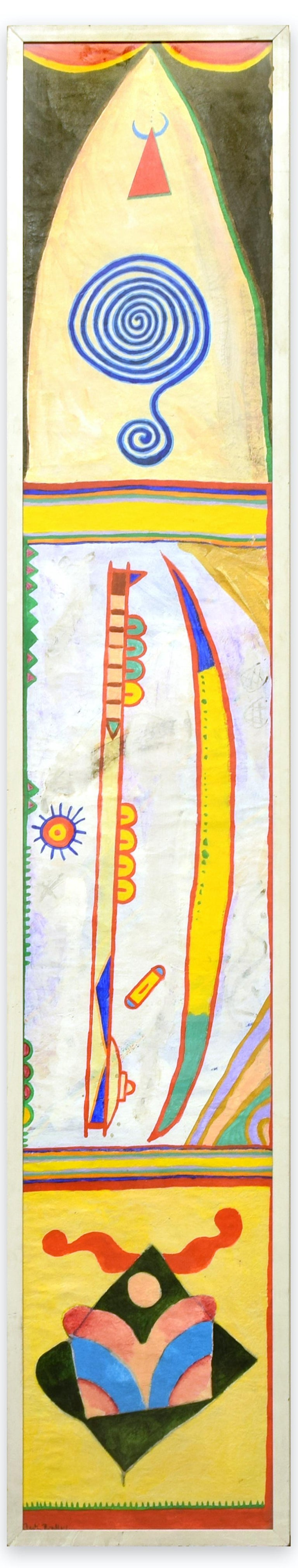 Boomerang is a colored original painting on rice paper realized around 1978 by the English artist Martin Bradley (born 1931).  A beautiful tempera and acrylic painting on rice paper, signed on lower left margin. Untitled.  A beautiful totem